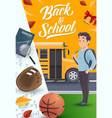 student with backpack school supplies near bus vector image vector image