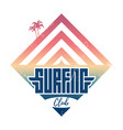 surfing club - vintage label california west vector image
