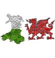 Wales map on a brick wall vector image