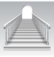 White stair with railings and archway vector image