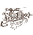 steampunk gun an unusual fantastic device made of vector image