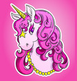 pink unicorn head portrait vector image