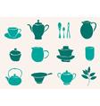 set of tea accessories vector image