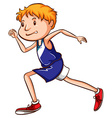 A coloured drawing of a young runner vector image vector image