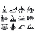 assembly line icons set simple style