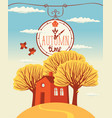 autumn landscape with trees and cheerful house vector image vector image