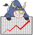 Blue Bull With Business Graph vector image vector image