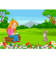 cartoon little girl reading a book in park vector image vector image