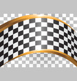 checkered curve gold line design race sport vector image