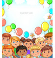 children portraits and balloons banner with place vector image vector image