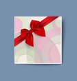 colored card with realistic red bow vector image vector image