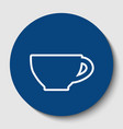 cup sign white contour icon in dark vector image