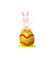 cute happy red easter rabbit stay on big colorful vector image vector image