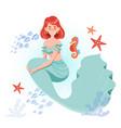 cute mermaid character vector image