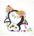 cute penguinstanding on his head tangled in a new vector image vector image