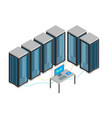 Data center with furniture and equipment isometric vector image