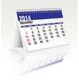 december 2014 desk calendar vector image vector image