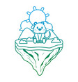 degraded line cute mouse animal in float island vector image vector image
