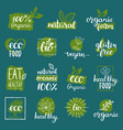 eco organic bio logos or signs vegan vector image