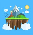 floating island with mountain hill tree and birds vector image vector image