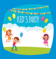 flyer or poster for a childrens party vector image vector image