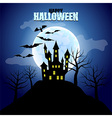 Forest with castle and moon Halloween background vector image vector image