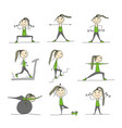 girl doing sport exercises sketch for your design vector image