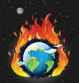 global warming poster with earth on fire vector image vector image