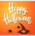 Halloween greeting card with hat angry spiders vector image