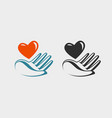 hand holding red heart icon or symbol love vector image vector image