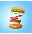 Ingredients hamburger ejected from the packaging vector image vector image