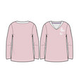 light pink long-sleeved t-shirt for women vector image