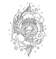 little mermaid with wreath of starfish surrounded vector image