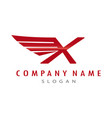 logo letter x wing vector image vector image