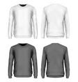 mens sweater black and white variants front back vector image