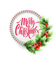 merry christmas lettering in circle candy cane vector image vector image