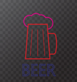 Mug of beer neon lights vector image vector image
