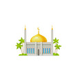 muslim mosque with crescent moon on dome isolated vector image