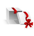open gift box with cut silk red ribbon vector image vector image