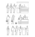 people queues man woman waiting lines isolated vector image vector image