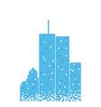 Pixelated blue building skyscraper design template