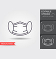 protection face mask line icon with editable vector image vector image