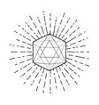 sacred geometry icosahedron line drawing vector image