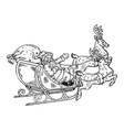 santa claus sleigh with reindeer engraving vector image vector image