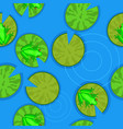 seamless texture frogs on lily pads on a pond vector image vector image