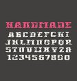 Serif font and numerals in the style of hand drawn vector image vector image