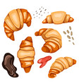set cartoon croissants and various types of vector image vector image