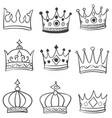 set of crown various hand draw vector image vector image