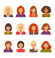 set of female avatars vector image