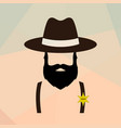 sheriff man portrait policeman retro logo vector image vector image